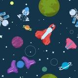 Sömlös modell för tecknad filmutrymme Främmande planetufo-raket och missiler Tapet för vektor för rum för galaxungepojke royaltyfri illustrationer