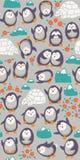 Sömlös modell för tecknad filmvektor med gulliga pingvin Royaltyfri Fotografi