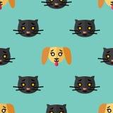 Sömlös modell för textiler med gulliga svarta kattungar och gula valpar på ett ljust - blå bakgrund Vektorl?genhet vektor illustrationer