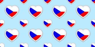 Sömlös modell för Tjeckienflagga Vektortjecken sjunker stikers Förälskelsehjärtasymboler Bakgrund för språkkurser, sportPA vektor illustrationer