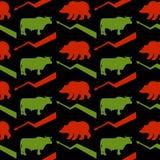 Sömlös modell för tjur- och björnaffärsmän Gröna Red Bull och bea royaltyfri illustrationer