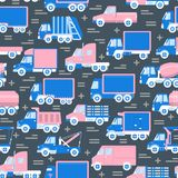 Sömlös modell för trans. med olika typer av lastbilar i plan stil royaltyfria bilder