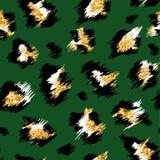 Sömlös modell för trendig leopard Stiliserad prickig leopardhudbakgrund med guld- blänker för mode, tryck vektor illustrationer