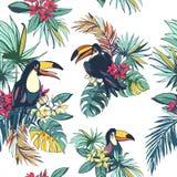 Sömlös modell för tropisk blom- sommar med Palm Beach sidor, vektor illustrationer