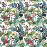 Sömlös modell för tropisk blom- sommar med Palm Beach sidor, stock illustrationer