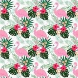 Sömlös modell för tropisk djungel med flamingofågeln, hibiskus- och plumeriablommor och palmblad, lägenhetdesign, royaltyfri illustrationer