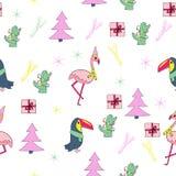 Sömlös modell för tropisk jul royaltyfri illustrationer