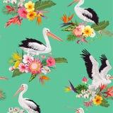 Sömlös modell för tropisk natur med pelikan och blommor Blom- bakgrund med Waterbirds för tyg, tapet Royaltyfri Foto