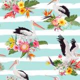 Sömlös modell för tropisk natur med pelikan och blommor Blom- bakgrund med Waterbirds för tyg, tapet Royaltyfri Bild