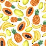 Sömlös modell för tropiska frukter royaltyfri illustrationer