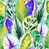 Sömlös modell för tropiska sidor stock illustrationer