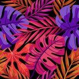 Sömlös modell för tropiska sidor för vektor färgrika stock illustrationer