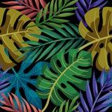 Sömlös modell för tropiska sidor för vektor färgrika Sommardesign stock illustrationer