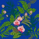 Sömlös modell för tropiska växter, tropiska blommor och sidor på kungliga blått vektor illustrationer