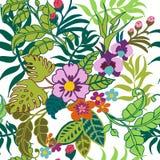 Sömlös modell för tropiska växter, tropiska blommor och sidor på vit vektor illustrationer