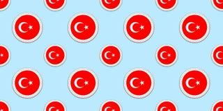 Sömlös modell för Turkiet rundaflagga Turkisk bakgrund Vektorcirkelsymboler Geometriska symboler Texturera för sportsidor, compet vektor illustrationer