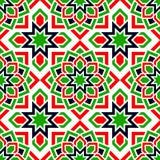 Sömlös modell för UAE Arabiska upprepad bakgrund Traditionella emirater sjunker färger Rött grönt, vitt, svart islamiskt royaltyfri illustrationer
