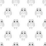 Sömlös modell för ugglafågelvektor stock illustrationer