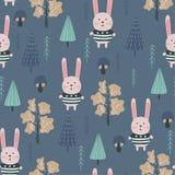 Sömlös modell för ungar med den gulliga kaninen och djurliv Vektordesign, utskrift och textiler royaltyfri illustrationer