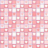 Sömlös modell för valentin med hjärtor i burar Royaltyfria Bilder