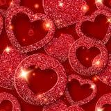 Sömlös modell för valentindag med skinande hjärtor Feriekortillustration på röd bakgrund stock illustrationer