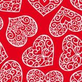 Sömlös modell för valentindagtappning på en röd bakgrund royaltyfri illustrationer