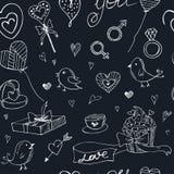 Sömlös modell för valentinklotter med hjärtor, blommor, gåvor, candus och fåglar Fotografering för Bildbyråer