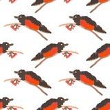 Sömlös modell för vattenfärg av domherrefåglar royaltyfri illustrationer