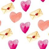 Sömlös modell för vattenfärg av kuvert, hjärtor i röda och rosa färger stock illustrationer