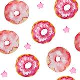 Sömlös modell för vattenfärg av rosa donuts och stjärnor n, kort, inbjudningar, textiler stock illustrationer