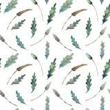 Sömlös modell för vattenfärg av sidor på vit royaltyfri illustrationer