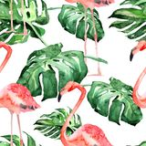 Sömlös modell för vattenfärg Hand målad illustration av tropiska sidor och blommor Vändkretssommarmotiv med den tropiska modellen royaltyfri illustrationer