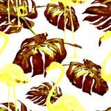 Sömlös modell för vattenfärg Hand målad illustration av tropiska sidor och blommor Vändkretssommarmotiv med den tropiska modellen Arkivfoton