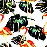 Sömlös modell för vattenfärg Hand målad illustration av tropiska sidor och blommor Vändkretssommarmotiv med den tropiska modellen Royaltyfri Fotografi