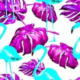 Sömlös modell för vattenfärg Hand målad illustration av tropiska sidor och blommor Vändkretssommarmotiv med den tropiska modellen Royaltyfria Bilder