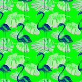 Sömlös modell för vattenfärg Hand målad illustration av tropiska sidor och blommor Vändkretssommarmotiv med den tropiska modellen Arkivbilder