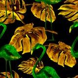 Sömlös modell för vattenfärg Hand målad illustration av tropiska sidor och blommor Vändkretssommarmotiv med den tropiska modellen Arkivbild