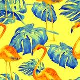 Sömlös modell för vattenfärg Hand målad illustration av tropiska sidor och blommor Vändkretssommarmotiv med den tropiska modellen Fotografering för Bildbyråer