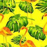 Sömlös modell för vattenfärg Hand målad illustration av tropiska sidor och blommor Vändkretssommarmotiv med den tropiska modellen Royaltyfri Foto