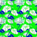 Sömlös modell för vattenfärg Hand målad illustration av tropiska sidor och blommor Vändkretssommarmotiv med den tropiska modellen Arkivfoto