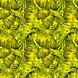 Sömlös modell för vattenfärg Hand målad illustration av tropiska sidor och blommor Vändkretssommarmotiv med Liana Pattern arkivfoto