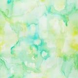 Sömlös modell för vattenfärg, hand målad ljus - gräsplan - gul ab Royaltyfri Bild