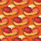 Sömlös modell för vattenfärg med äpplen, apelsiner och en banan Royaltyfri Foto