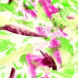Sömlös modell för vattenfärg med abstrakt begreppband, prickar och penseldrag Royaltyfri Foto