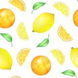 Sömlös modell för vattenfärg med citronen och apelsinen Royaltyfri Bild