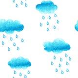 Sömlös modell för vattenfärg med cluods och regndroppar Royaltyfria Foton