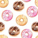 Sömlös modell för vattenfärg med donuts royaltyfri illustrationer