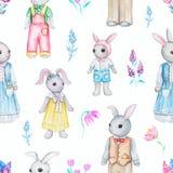 Sömlös modell för vattenfärg med familjen av kaniner vektor illustrationer