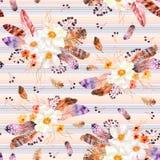 Sömlös modell för vattenfärg med fjädrar och anemonbuketter på randig bakgrund Arkivfoton