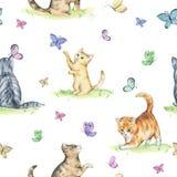 Sömlös modell för vattenfärg med gulliga kattungar royaltyfri illustrationer